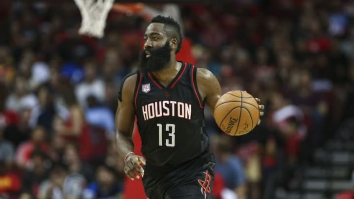 Oct 30, 2016; Houston, TX, USA; Houston Rockets guard James Harden (13) brings the ball up the court during the first quarter against the Dallas Mavericks at Toyota Center. Mandatory Credit: Troy Taormina-USA TODAY Sports