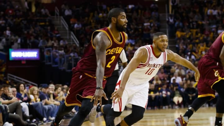 Nov 1, 2016; Cleveland, OH, USA; Cleveland Cavaliers guard Kyrie Irving (2) dribbles defended by Houston Rockets guard Eric Gordon (10) in the second half at Quicken Loans Arena. Cleveland won 128-120. Mandatory Credit: Rick Osentoski-USA TODAY Sports