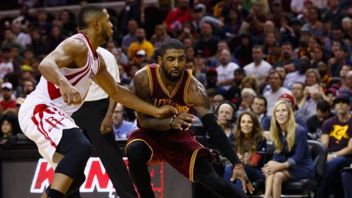 Nov 1, 2016; Cleveland, OH, USA; Cleveland Cavaliers guard Kyrie Irving (2) defended by Houston Rockets guard Eric Gordon (10) in the second half at Quicken Loans Arena. Cleveland won 128-120. Mandatory Credit: Rick Osentoski-USA TODAY Sports