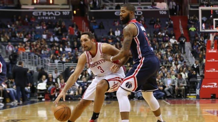 Nov 7, 2016; Washington, DC, USA; Houston Rockets forward Ryan Anderson (3) dribbles the ball as Washington Wizards forward Markieff Morris (5) defends in the second quarter at Verizon Center. Mandatory Credit: Geoff Burke-USA TODAY Sports