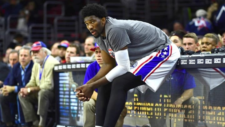 Nov 7, 2016; Philadelphia, PA, USA; Philadelphia 76ers center Joel Embiid (21) waits to enter the game against the Utah Jazz during the second quarter at Wells Fargo Center. Mandatory Credit: Eric Hartline-USA TODAY Sports