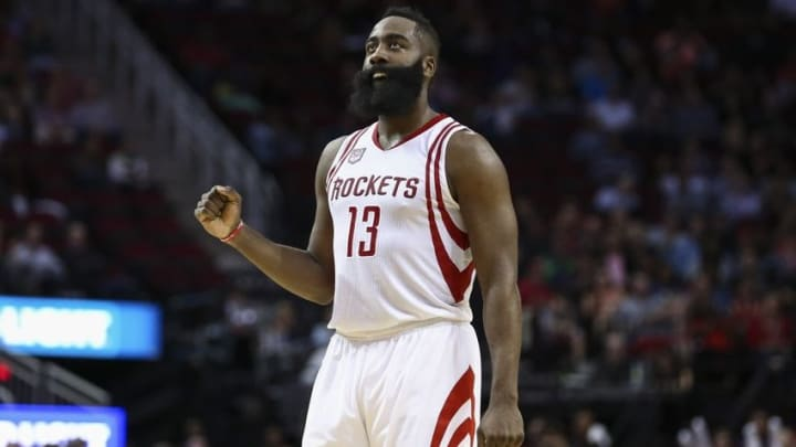 Nov 14, 2016; Houston, TX, USA; Houston Rockets guard James Harden (13) reacts after a play during the second quarter against the Philadelphia 76ers at Toyota Center. Mandatory Credit: Troy Taormina-USA TODAY Sports