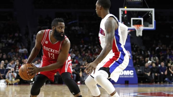 Nov 21, 2016; Auburn Hills, MI, USA; Houston Rockets guard James Harden (13) is defended by Detroit Pistons guard Kentavious Caldwell-Pope (5) during the second quarter at The Palace of Auburn Hills. Mandatory Credit: Raj Mehta-USA TODAY Sports