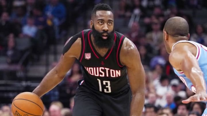 Nov 25, 2016; Sacramento, CA, USA; Houston Rockets guard James Harden (13) controls the ball against the Sacramento Kings during the first quarter at Golden 1 Center. Mandatory Credit: Kelley L Cox-USA TODAY Sports