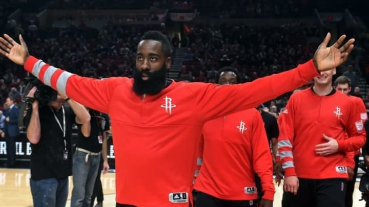 Nov 27, 2016; Portland, OR, USA; Houston Rockets guard James Harden (13) reacts as the crowd boos him during introductions before the game against the Portland Trail Blazers during the first quarter of the game at the Moda Center at the Rose Quarter. Mandatory Credit: Steve Dykes-USA TODAY Sports