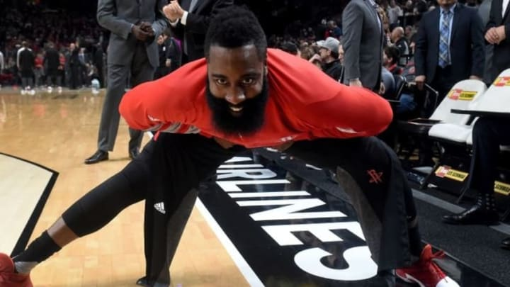 Nov 27, 2016; Portland, OR, USA; Houston Rockets guard James Harden (13) stretches before the game against the Portland Trail Blazers at the Moda Center at the Rose Quarter. Mandatory Credit: Steve Dykes-USA TODAY Sports