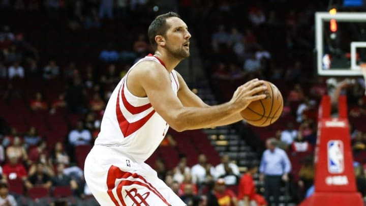 Oct 4, 2016; Houston, TX, USA; Houston Rockets forward Ryan Anderson (3) shoots the ball during a game against the New York Knicks at Toyota Center. Mandatory Credit: Troy Taormina-USA TODAY Sports