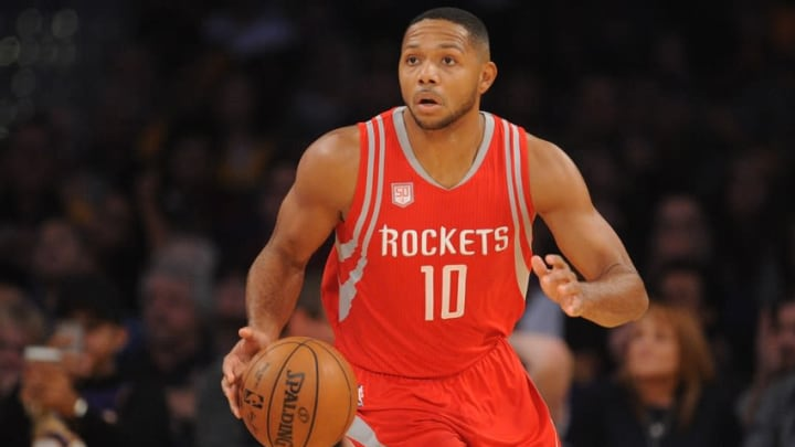 October 26, 2016; Los Angeles, CA, USA; Houston Rockets guard Eric Gordon (10) moves the ball up court against the Los Angeles Lakers during the first half at Staples Center. Mandatory Credit: Gary A. Vasquez-USA TODAY Sports