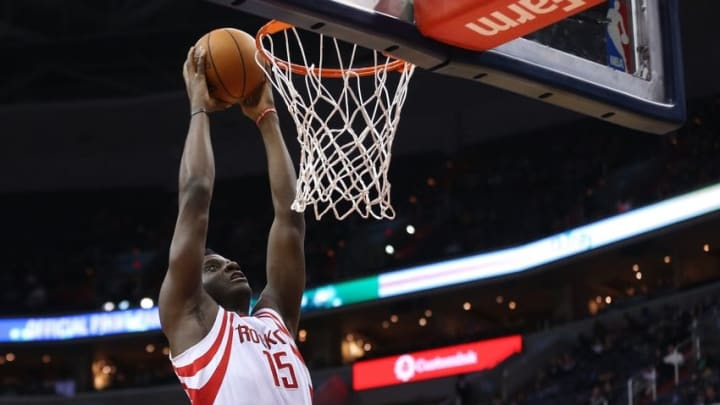 Nov 7, 2016; Washington, DC, USA; Houston Rockets center Clint Capela (15) dunks the ball against the Washington Wizards in the second quarter at Verizon Center. Mandatory Credit: Geoff Burke-USA TODAY Sports