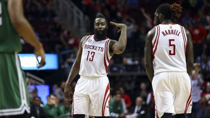 Dec 5, 2016; Houston, TX, USA; Houston Rockets guard James Harden (13) reacts after making a three point basket during the fourth quarter against the Boston Celtics at Toyota Center. Mandatory Credit: Troy Taormina-USA TODAY Sports