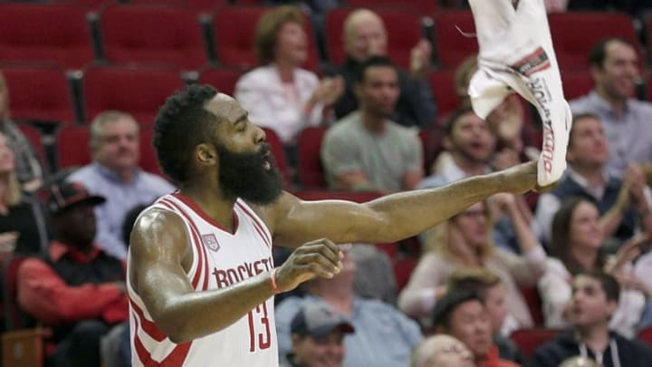 Dec 7, 2016; Houston, TX, USA; Houston Rockets guard James Harden (13) cheers for his team on the bench against the Los Angeles Lakers in the second half at Toyota Center. The Houston Rockets won 134 to 95. Mandatory Credit: Thomas B. Shea-USA TODAY Sports