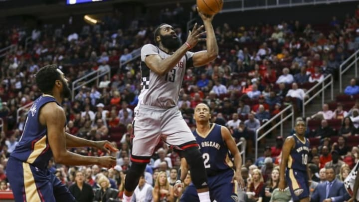 Dec 16, 2016; Houston, TX, USA; Houston Rockets guard James Harden (13) shoots the ball during the third quarter against the New Orleans Pelicans at Toyota Center. Mandatory Credit: Troy Taormina-USA TODAY Sports