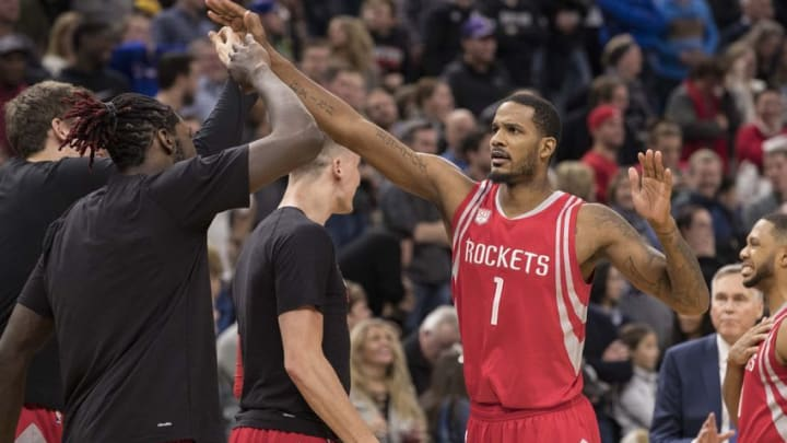 Dec 17, 2016; Minneapolis, MN, USA; Houston Rockets forward Trevor Ariza (1) celebrates with teammates after making a game tying shot in the fourth quarter against the Minnesota Timberwolves at Target Center. The Rockets won 111-109 in Overtime. Mandatory Credit: Jesse Johnson-USA TODAY Sports