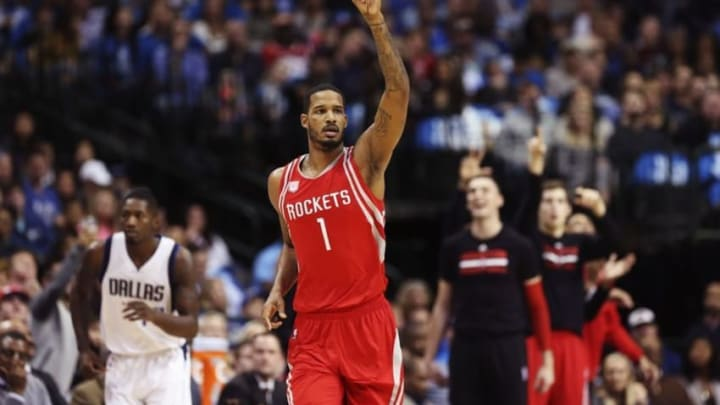Dec 27, 2016; Dallas, TX, USA; Houston Rockets forward Trevor Ariza (1) reacts after scoring during the first half against the Dallas Mavericks at American Airlines Center. Mandatory Credit: Kevin Jairaj-USA TODAY Sports