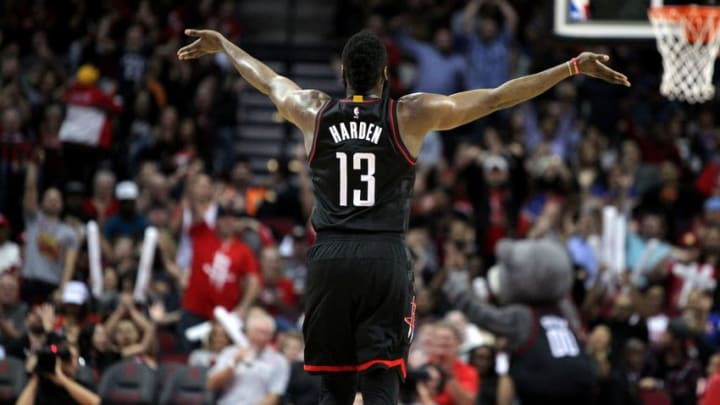 Dec 31, 2016; Houston, TX, USA; Houston Rockets guard James Harden (13) waves to the crowd after a made three-poing basket against the New York Knicks during the second quarter at Toyota Center. Mandatory Credit: Erik Williams-USA TODAY Sports