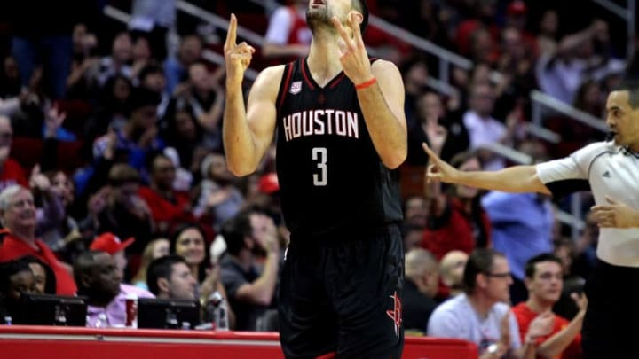 Dec 31, 2016; Houston, TX, USA; Houston Rockets forward Ryan Anderson (3) celebrates a made basket against the New York Knicks during the fourth quarter at Toyota Center. Mandatory Credit: Erik Williams-USA TODAY Sports