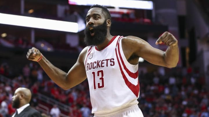 Jan 2, 2017; Houston, TX, USA; Houston Rockets guard James Harden (13) celebrates after a play during the fourth quarter against the Washington Wizards at Toyota Center. Mandatory Credit: Troy Taormina-USA TODAY Sports