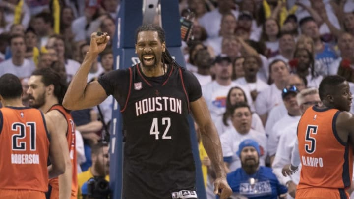 OKLAHOMA CITY, OK - APRIL 23: Nene Hilario #42 of the Houston Rockets celebrates after Game Four against the Oklahoma City Thunder in the 2017 NBA Playoffs Western Conference Quarterfinals on April 23, 2017 in Oklahoma City. The Rockets defeated the Thunder 113-109. (Photo by J Pat Carter/Getty Images)