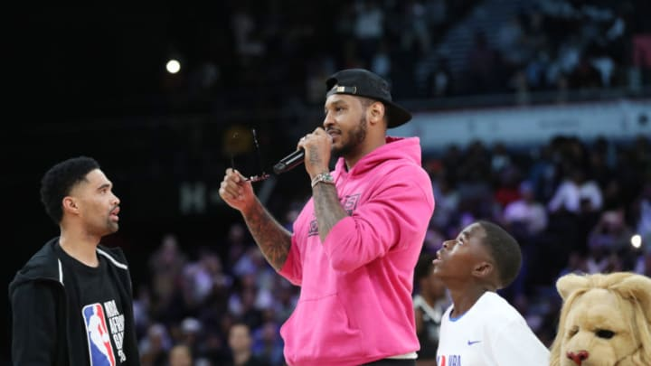 PRETORIA, SOUTH AFRICA - AUGUST 4: Carmelo Anthony addresses the crowd during the 2018 NBA Africa Game as part of the Basketball Without Borders Africa on August 4, 2018 at the Time Square Sun Arena in Pretoria, South Africa. NOTE TO USER: User expressly acknowledges and agrees that, by downloading and or using this photograph, User is consenting to the terms and conditions of the Getty Images License Agreement. Mandatory Copyright Notice: Copyright 2017 NBAE (Photo by Joe Murphy/NBAE via Getty Images)