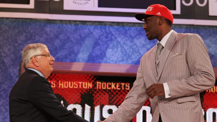 NEW YORK – JUNE 24: Patrick Patterson, David Stern (Photo by Al Bello/Getty Images)