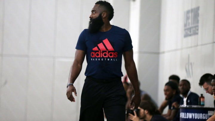 NEW YORK, NY - SEPTEMBER 12: James Harden attends Black Ops Basketball Run on September 12, 2018 in New York City. (Photo by Shareif Ziyadat/Getty Images)