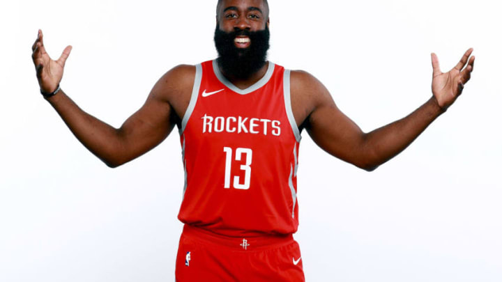 HOUSTON, TX - SEPTEMBER 24: James Harden #13 of the Houston Rockets poses for a portrait during the Houston Rockets Media Day at The Post Oak Hotel at Uptown Houston on September 24, 2018 in Houston, Texas. NOTE TO USER: User expressly acknowledges and agrees that, by downloading and or using this photograph, User is consenting to the terms and conditions of the Getty Images License Agreement. (Photo by Tom Pennington/Getty Images)