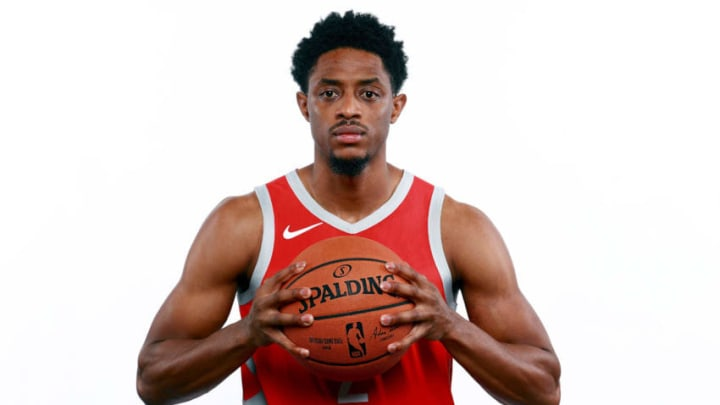 HOUSTON, TX - SEPTEMBER 24: Brandon Knight #2 of the Houston Rockets poses for a portrait during the Houston Rockets Media Day at The Post Oak Hotel at Uptown Houston on September 24, 2018 in Houston, Texas. NOTE TO USER: User expressly acknowledges and agrees that, by downloading and or using this photograph, User is consenting to the terms and conditions of the Getty Images License Agreement. (Photo by Tom Pennington/Getty Images)