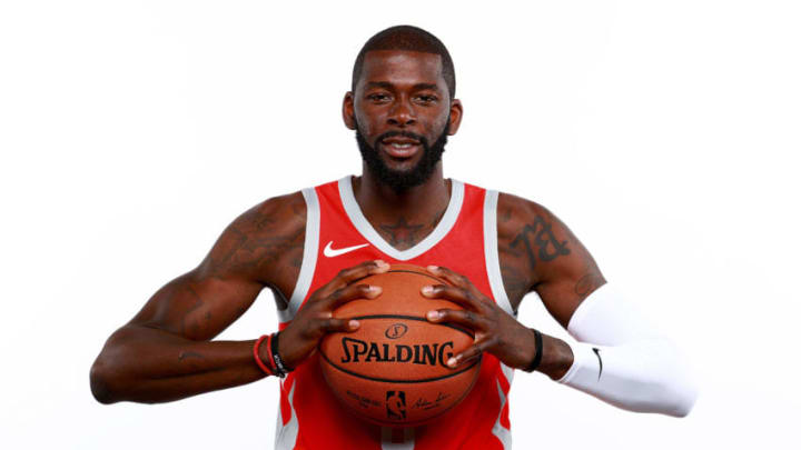 HOUSTON, TX - SEPTEMBER 24: James Ennis #8 of the Houston Rockets poses for a portrait during the Houston Rockets Media Day at The Post Oak Hotel at Uptown Houston on September 24, 2018 in Houston, Texas. NOTE TO USER: User expressly acknowledges and agrees that, by downloading and or using this photograph, User is consenting to the terms and conditions of the Getty Images License Agreement. (Photo by Tom Pennington/Getty Images)