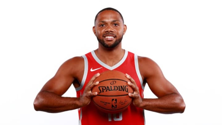 HOUSTON, TX - SEPTEMBER 24: Eric Gordon #10 of the Houston Rockets poses for a portrait during the Houston Rockets Media Day at The Post Oak Hotel at Uptown Houston on September 24, 2018 in Houston, Texas. NOTE TO USER: User expressly acknowledges and agrees that, by downloading and or using this photograph, User is consenting to the terms and conditions of the Getty Images License Agreement. (Photo by Tom Pennington/Getty Images)