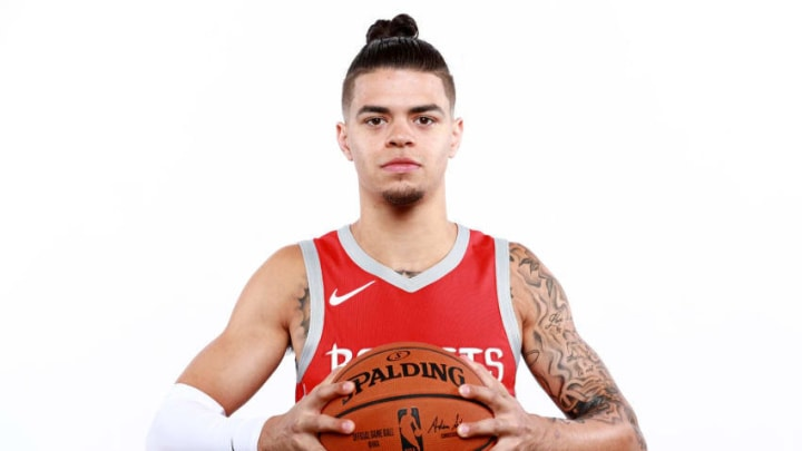 HOUSTON, TX - SEPTEMBER 24: Rob Gray #32 of the Houston Rockets poses for a portrait during the Houston Rockets Media Day at The Post Oak Hotel at Uptown Houston on September 24, 2018 in Houston, Texas. NOTE TO USER: User expressly acknowledges and agrees that, by downloading and or using this photograph, User is consenting to the terms and conditions of the Getty Images License Agreement. (Photo by Tom Pennington/Getty Images)