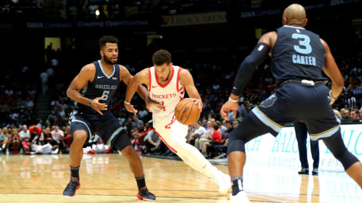 BIRMINGHAM, AL - OCTOBER 2: Michael Carter-Williams #1 of the Houston Rockets handles the ball against the Memphis Grizzlies during a pre-season game on October 2, 2018 at Legacy Arena at The BJCC in Birmingham, Alabama. NOTE TO USER: User expressly acknowledges and agrees that, by downloading and or using this photograph, User is consenting to the terms and conditions of the Getty Images License Agreement. Mandatory Copyright Notice: Copyright 2018 NBAE (Photo by Joe Murphy/NBAE via Getty Images)