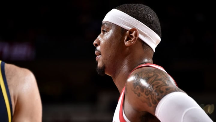 HOUSTON, TX - OCTOBER 4: Carmelo Anthony #7 of the Houston Rockets looks on during a pre-season game against on October 4, 2018 at Toyota Center, in Houston, Texas. NOTE TO USER: User expressly acknowledges and agrees that, by downloading and/or using this Photograph, user is consenting to the terms and conditions of the Getty Images License Agreement. Mandatory Copyright Notice: Copyright 2018 NBAE (Photo by Bill Baptist/NBAE via Getty Images)