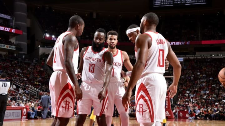 HOUSTON, TX - OCTOBER 4: the Houston Rockets huddle up during a pre-season game against the Indiana Pacers on October 4, 2018 at Toyota Center, in Houston, Texas. NOTE TO USER: User expressly acknowledges and agrees that, by downloading and/or using this Photograph, user is consenting to the terms and conditions of the Getty Images License Agreement. Mandatory Copyright Notice: Copyright 2018 NBAE (Photo by Bill Baptist/NBAE via Getty Images)