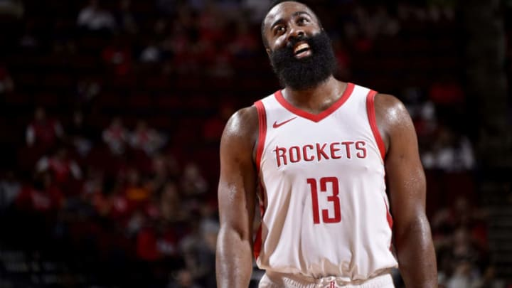 HOUSTON, TX - OCTOBER 9: James Harden #13 of the Houston Rockets reacts during a pre-season game against the Shanghai Sharks on October 9, 2018 at Toyota Center, in Houston, Texas. NOTE TO USER: User expressly acknowledges and agrees that, by downloading and/or using this Photograph, user is consenting to the terms and conditions of the Getty Images License Agreement. Mandatory Copyright Notice: Copyright 2018 NBAE (Photo by Bill Baptist/NBAE via Getty Images)
