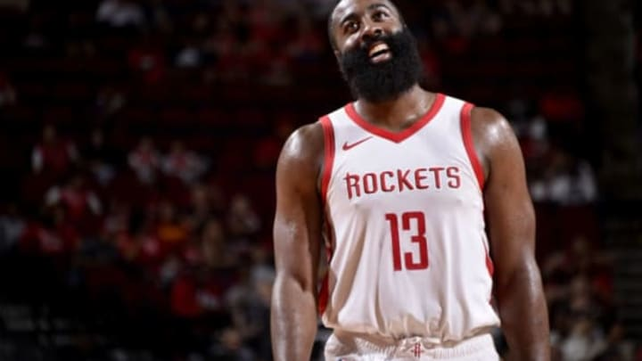 HOUSTON, TX – OCTOBER 9: James Harden #13 of the Houston Rockets reacts during a pre-season game against the Shanghai Sharks on October 9, 2018 at Toyota Center, in Houston, Texas. NOTE TO USER: User expressly acknowledges and agrees that, by downloading and/or using this Photograph, user is consenting to the terms and conditions of the Getty Images License Agreement. Mandatory Copyright Notice: Copyright 2018 NBAE (Photo by Bill Baptist/NBAE via Getty Images)