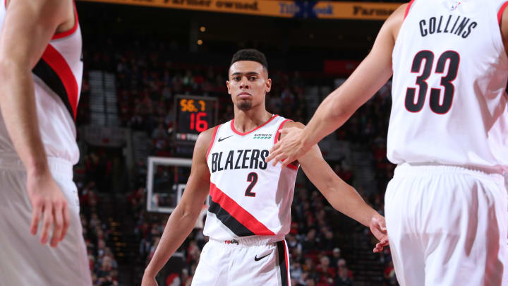 Wade Baldwin IV #2 of the Portland Trail Blazers looks on against the Utah Jazz (Photo by Sam Forencich/NBAE via Getty Images)