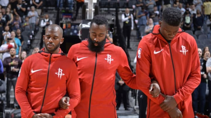 Chris Paul #3 James Harden #13 and Clint Capela #15 of the Houston Rockets (Photos by Mark Sobhani/NBAE via Getty Images)