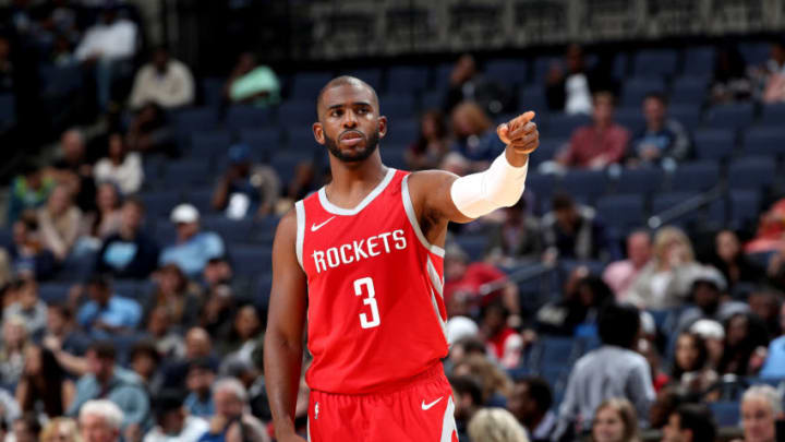 MEMPHIS, TN - OCTOBER 12: Chris Paul #3 of the Houston Rockets looks on against the Memphis Grizzlies during a pre-season game on October 12, 2018 at FedExForum in Memphis, Tennessee. NOTE TO USER: User expressly acknowledges and agrees that, by downloading and or using this photograph, User is consenting to the terms and conditions of the Getty Images License Agreement. Mandatory Copyright Notice: Copyright 2018 NBAE (Photo by Joe Murphy/NBAE via Getty Images)