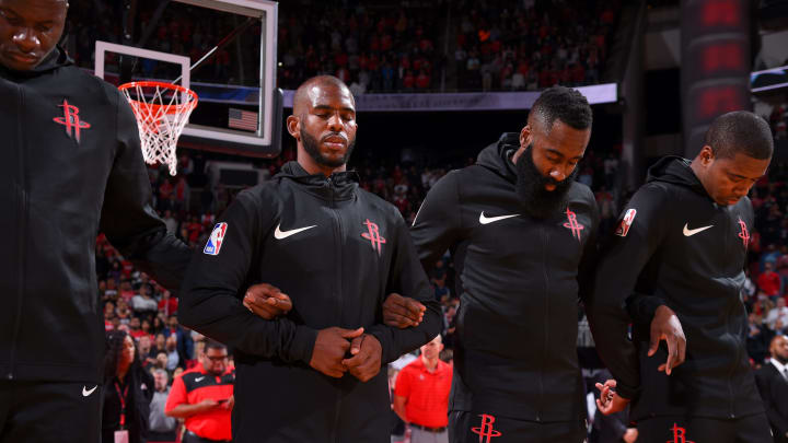 Chris Paul #3 and James Harden #13 of the Houston Rockets (Photo by Bill Baptist/NBAE via Getty Images)