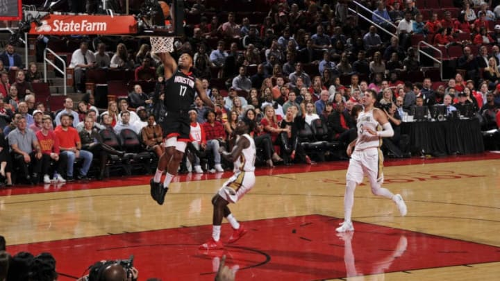 HOUSTON, TX - OCTOBER 17: PJ Tucker #17 of the Houston Rockets shoots the ball against the New Orleans Pelicans during a game on October 17, 2018 at Toyota Center, in Houston, Texas. NOTE TO USER: User expressly acknowledges and agrees that, by downloading and/or using this Photograph, user is consenting to the terms and conditions of the Getty Images License Agreement. Mandatory Copyright Notice: Copyright 2018 NBAE (Photo by Bill Baptist/NBAE via Getty Images)