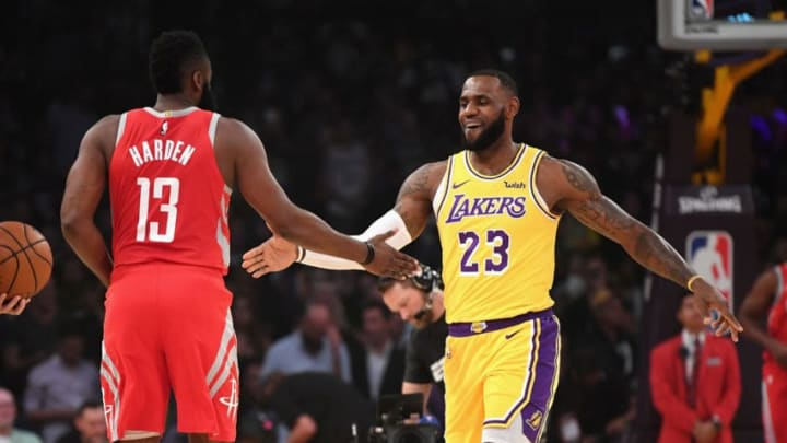 James Harden #13 of the Houston Rockets greets LeBron James #23 of the Los Angeles Lakers (Photo by Harry How/Getty Images)