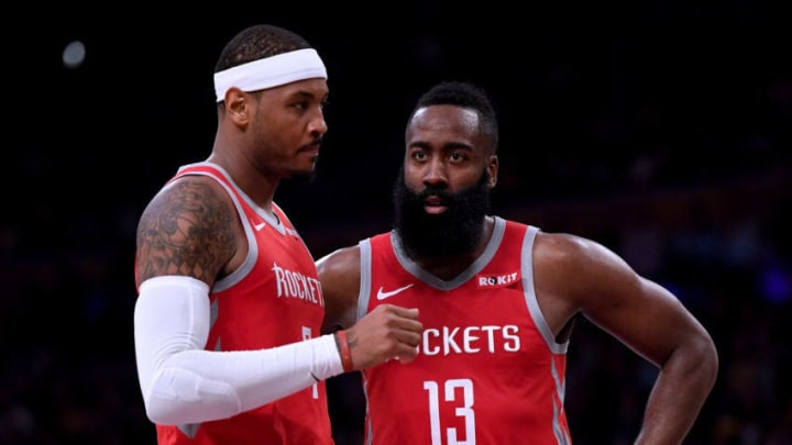 James Harden #13 of the Houston Rockets and Carmelo Anthony #7 (Photo by Harry How/Getty Images)
