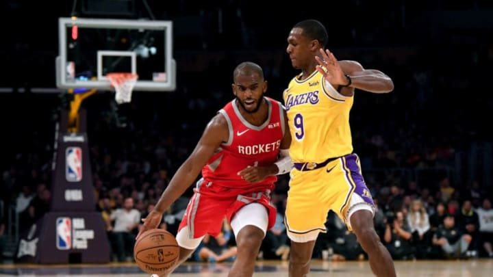 Chris Paul #3 of the Houston Rockets drives on Rajon Rondo #9 of the Los Angeles Lakers (Photo by Harry How/Getty Images)