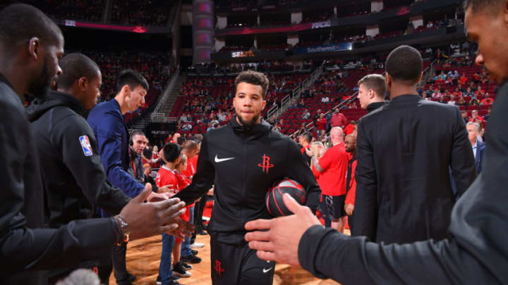 HOUSTON, TX - OCTOBER 24: Michael Carter-Williams #1 of the Houston Rockets is introduced before the game against the Utah Jazz on October 24, 2018 at Toyota Center, in Houston, Texas. NOTE TO USER: User expressly acknowledges and agrees that, by downloading and/or using this Photograph, user is consenting to the terms and conditions of the Getty Images License Agreement. Mandatory Copyright Notice: Copyright 2018 NBAE (Photo by Bill Baptist/NBAE via Getty Images)