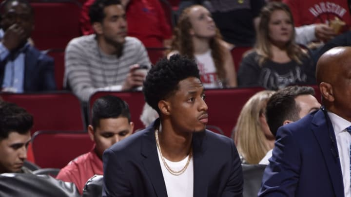 HOUSTON, TX - OCTOBER 24: Brandon Knight #2 of the Houston Rockets looks on during the game against the Utah Jazz on October 24, 2018 at Toyota Center, in Houston, Texas. NOTE TO USER: User expressly acknowledges and agrees that, by downloading and/or using this Photograph, user is consenting to the terms and conditions of the Getty Images License Agreement. Mandatory Copyright Notice: Copyright 2018 NBAE (Photo by Bill Baptist/NBAE via Getty Images)