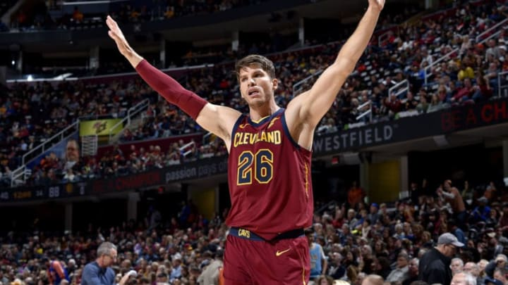 Kyle Korver #26 of the Cleveland Cavaliers reacts against the Indiana Pacers (Photo by David Liam Kyle/NBAE via Getty Images)