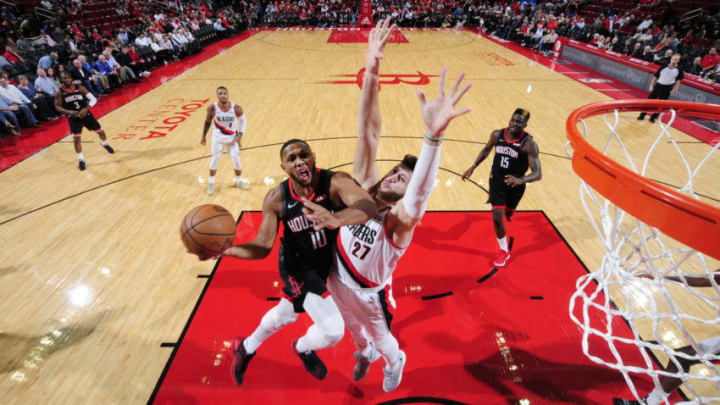 HOUSTON, TX - OCTOBER 30: Eric Gordon #10 of the Houston Rockets goes to the basket against the Portland Trail Blazers on October 30, 2018 at the Toyota Center in Houston, Texas. NOTE TO USER: User expressly acknowledges and agrees that, by downloading and/or using this photograph, user is consenting to the terms and conditions of the Getty Images License Agreement. Mandatory Copyright Notice: Copyright 2018 NBAE (Photo by Bill Baptist/NBAE via Getty Images)