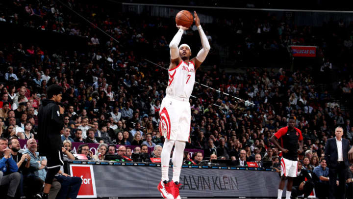 NEW YORK, NY - NOVEMBER 2: Carmelo Anthony #7 of the Houston Rockets shoots the ball against the Brooklyn Nets on November 2, 2018 at Madison Square Garden in New York City, New York. NOTE TO USER: User expressly acknowledges and agrees that, by downloading and or using this photograph, User is consenting to the terms and conditions of the Getty Images License Agreement. Mandatory Copyright Notice: Copyright 2018 NBAE (Photo by Nathaniel S. Butler/NBAE via Getty Images)