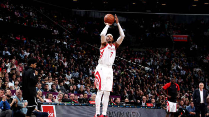 NEW YORK, NY – NOVEMBER 2: Carmelo Anthony #7 of the Houston Rockets shoots the ball against the Brooklyn Nets on November 2, 2018 at Madison Square Garden in New York City, New York. NOTE TO USER: User expressly acknowledges and agrees that, by downloading and or using this photograph, User is consenting to the terms and conditions of the Getty Images License Agreement. Mandatory Copyright Notice: Copyright 2018 NBAE (Photo by Nathaniel S. Butler/NBAE via Getty Images)