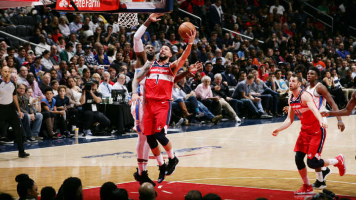 WASHINGTON, DC - NOVEMBER 2: Washington Wizards guard Austin Rivers #1 shoots the ball during the game against the Oklahoma City Thunder on November 2, 2018 at Capital One Arena in Washington, DC. NOTE TO USER: User expressly acknowledges and agrees that, by downloading and or using this Photograph, user is consenting to the terms and conditions of the Getty Images License Agreement. Mandatory Copyright Notice: Copyright 2018 NBAE (Photo by Ned Dishman/NBAE via Getty Images)